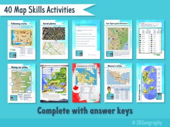Map skills worksheets - complete with answers