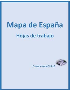 Mapa de España (Map of Spain) worksheets