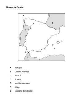 Map Of Spain Labeled.Mapa De Espana Map Of Spain Worksheets