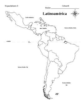 Mapa de latinoamérica en blanco by Janette Rodriguez   TpT