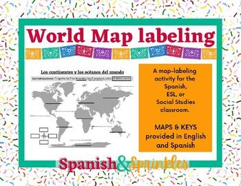 Mapa del mundo- Los continentes y los océanos- World Map