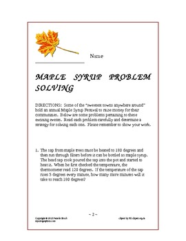 Maple Syrup Problem Solving:Critical Thinking Aligned to the Common Core