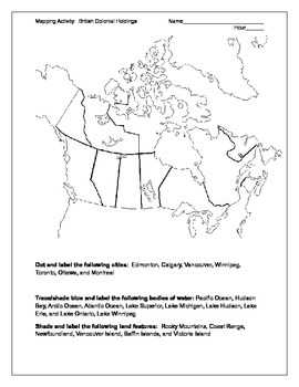 Mapping Activity- British Colonial Holdings