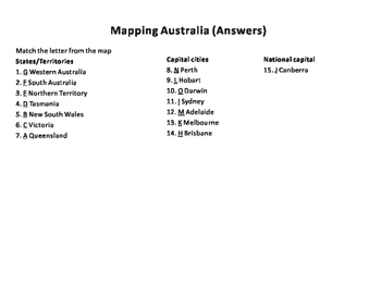Mapping Australia States & Capital Cities