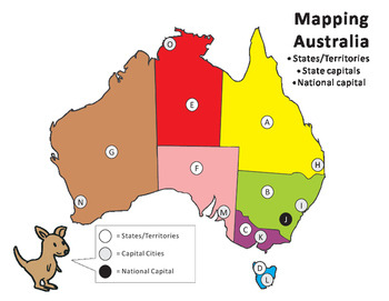 Australia Map With Capital Cities.Mapping Australia States Capital Cities