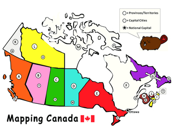 Map Of Canada Capital Cities.Mapping Canadian Provinces Capital Cities