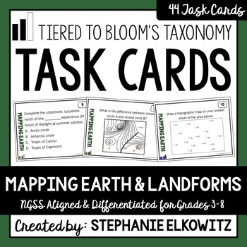 Mapping Earth and Landforms Task Cards (Differentiated and Tiered)
