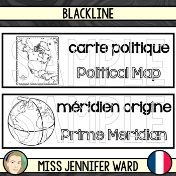 Mapping Skills Word Wall in French / English