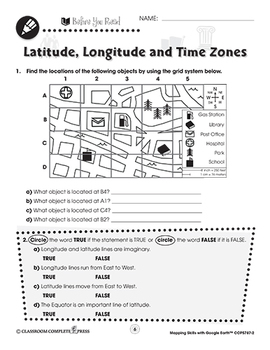 Mapping Skills with Google Earth: Latitude, Longitude and Time Zones Gr. 3-5