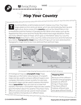 Mapping Skills with Google Earth: Map Your Country Gr. 3-5
