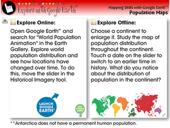 Mapping Skills with Google Earth™: Population Distribution - Explore -PC Gr. 6-8