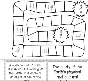 Mapping the Earth Board Game with Vocabulary Words