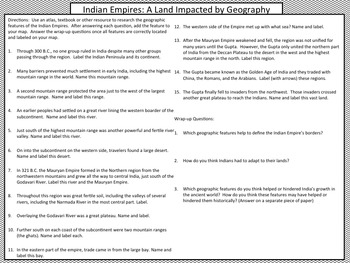 Mapping the Lands of the Indian Empires of Mauryan and Gupta Activity