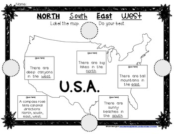 mapping the usa label cardinal directions for young students lift