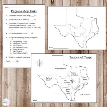 Texas Map Skills Task Cards