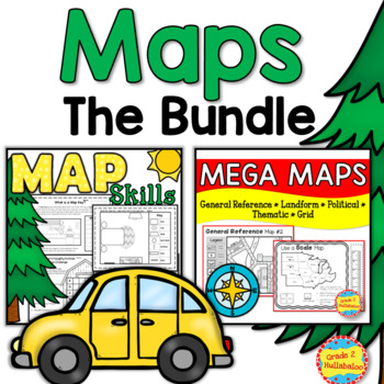 Maps - BUNDLE - Close Reading, Map Key, Scale, Theme, Political, and MORE!