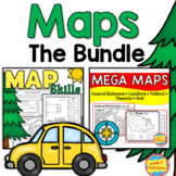 Maps BUNDLE - Close Reading, Map Key, Scale, Theme, & Political