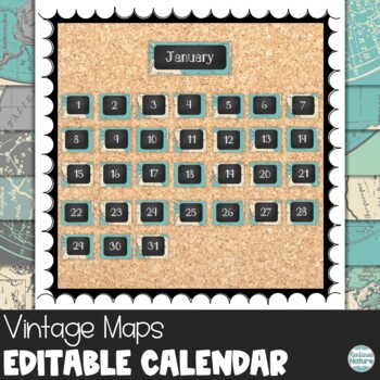 Maps Chalkboard Calendar Set of 12 Travel Theme