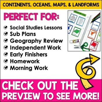Maps, Continents, Landforms, Map Skills - Interactive Social Studies Notebook
