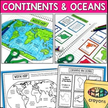Maps, Continents, Landforms, Map Skills - Interactive Social Studies Notebook
