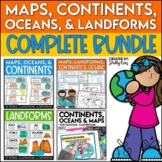 Maps, Continents, Landforms, and Map Skills Bundle
