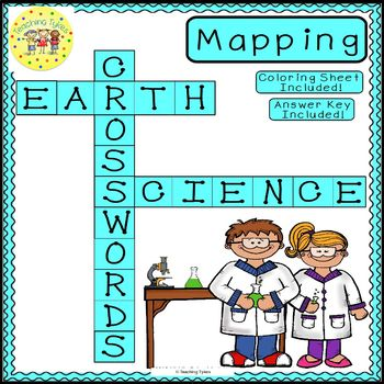 Maps Earth Science Crossword Puzzle Coloring Worksheet Middle School