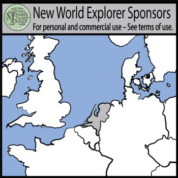 Maps: Europe Sponsor Countries for New World Explorers {Messare Clips & Design}