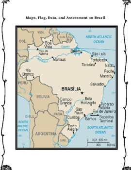 Brazil Geography, Flag, Maps Assessment - Map Skills and Data Analysis