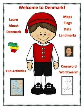 Geography, Flag, Maps, Assessment on Denmark - Map Skills