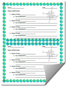 Types of Maps Guided Notes Printable