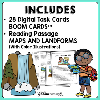Maps & Landforms Boom Cards™ | Maps & Landforms Reading Passage | 2nd Grade NGSS