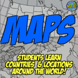 Maps: Teach countries around the world!  Blank Maps, Numbered Maps, QR Review