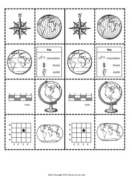 Map Skills Foldable activities formatted for differentiation