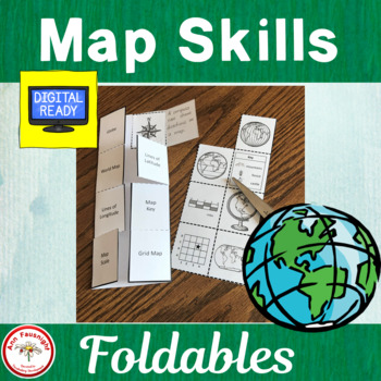 Maps Skills Foldable activities formatted for differentiation