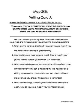 Maps Skills Writing Card & Reading Response Activity