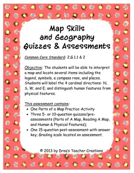 Maps Skills and Geography Quizzes and Assessments Bundle