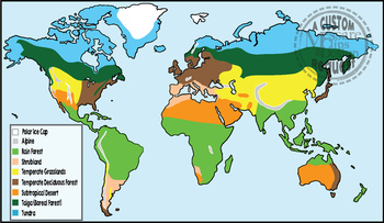 Biome World Map Worksheets Teaching Resources Tpt