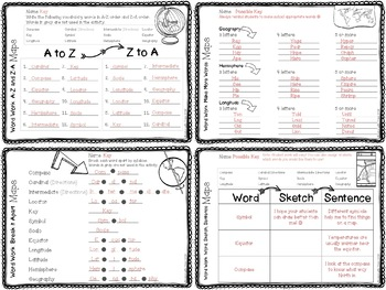 Maps Vocabulary Cards and Word Work Activities