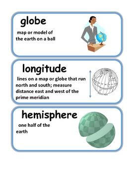 Maps Vocabulary / Word Wall Cards