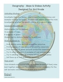 Maps and Globes Activity 2nd, 3rd, 4th Grades