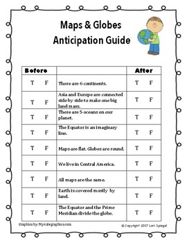 Maps and Globes Anticipation Guide
