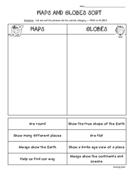 Maps and Globes Cut and Paste Sorting Worksheet - Social Studies