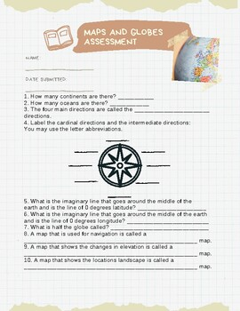 Maps and Globes Exit Ticket or Assessment