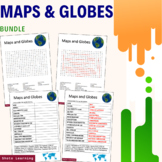 Maps and Globes Science Activity - Bundle Scramble Word Fi