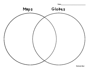 Maps and Globes Venn Diagram - Social Studies/Geography minilesson and worksheet