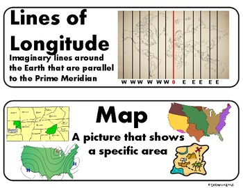 Maps and Globes Vocabulary Cards