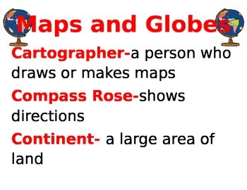 Maps and Globes Vocabulary Word Wall
