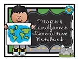 Maps and Landforms Interactive Notebook for Second Grade - NO PREP