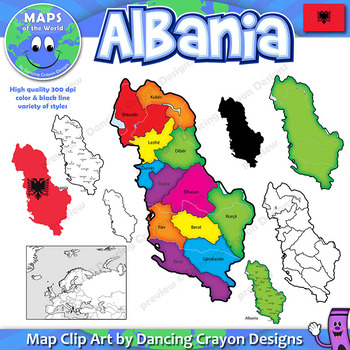Maps of Albania: Clip Art Map Set
