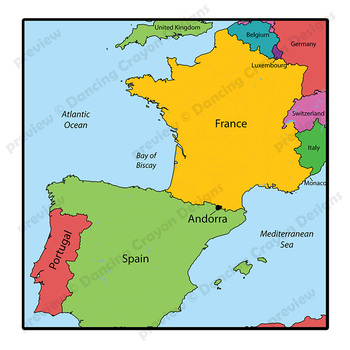 Maps Of Andorra Clip Art Map Set By Maps Of The World Tpt